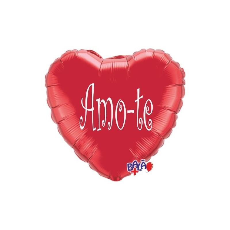 Balão Foil Coração de 18'' Amo-te - balão coração vermelho Amo-te