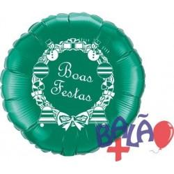 Balão Foil Redondo de 18'' Verde Boas Festas