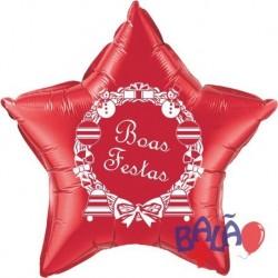 Balão Foil Redondo de 18'' Vermelho Boas Festas