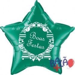 Balão Foil Estrela de 18'' Verde Boas Festas