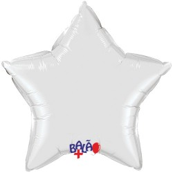 90cm Star Foil Balloon White