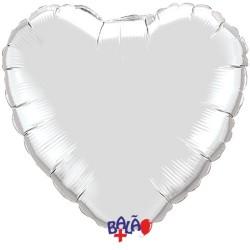 Balão Coração de 23cm Prateado