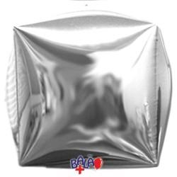 Balão Cubo de 40cm Prateado