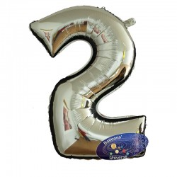 100cm Silver Number 2 Balloon