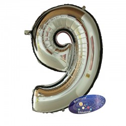 100cm Silver Number 9 Balloon