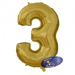 100cm Golden Number 3 Balloon