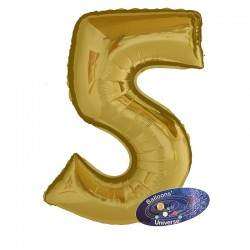 100cm Golden Number 5 Balloon