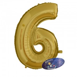 100cm Golden Number 6 Balloon