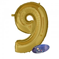 100cm Golden Number 9 Balloon