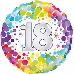 18'' 18th Colourful Confetti Birthday RoundFoil Balloon