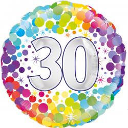 18'' 30th Colourful Confetti Birthday RoundFoil Balloon