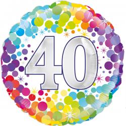 18'' 40th Colourful Confetti Birthday RoundFoil Balloon