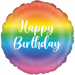 18'' Rainbow Script Birthday Round Foil Balloon