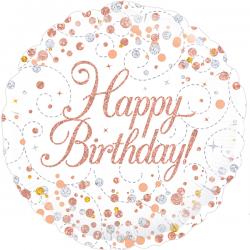 18'' Sparkling Fizz Birthday White & Rose Gold Holographic  Round Foil Balloon