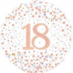 18'' 18Th Sparkling Fizz Birthday White & Rose Gold Holographic  Round Foil Balloon