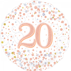 18'' 20Th Sparkling Fizz Birthday White & Rose Gold Holographic  Round Foil Balloon