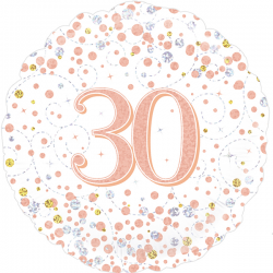 18'' 30Th Sparkling Fizz Birthday White & Rose Gold Holographic  Round Foil Balloon