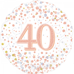 18'' 40Th Sparkling Fizz Birthday White & Rose Gold Holographic  Round Foil Balloon