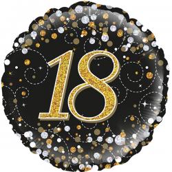 18'' 18Th Sparkling Fizz Birthday Black & Gold Holographic Round Foil Balloon