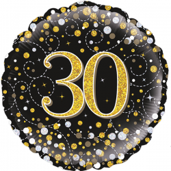 18'' 30Th Sparkling Fizz Birthday Black & Gold Holographic Round Foil Balloon