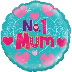 18'' Number 1 Mum  Round Foil Balloon