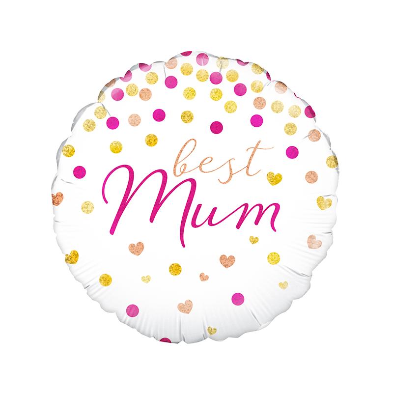 18'' Best Mum Holographic Round Foil Balloon