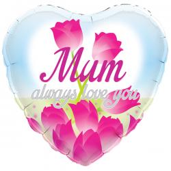 18'' Mum Always Love You Heart Foil Balloon