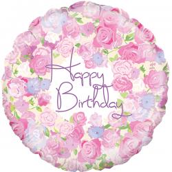 18'' Vintage Floral Birthday  Round Foil Balloon