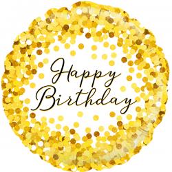 18'' Gold Sparkle Birthday Holographic Round Foil Balloon