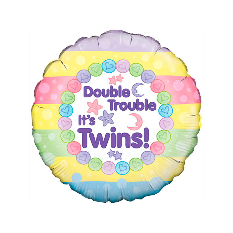18'' Double Trouble It's Twins Round Foil Balloon