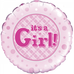 18'' It's a Girl Round Foil Balloon