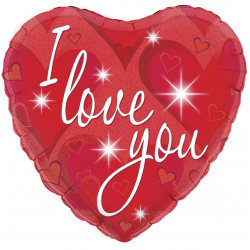 18'' I Love You Sparkles Holographic Heart Foil Balloon