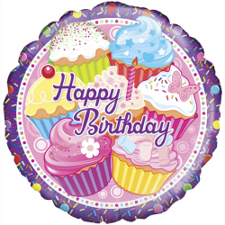 18'' Cupcake Birthday Holographic Round Foil Balloon