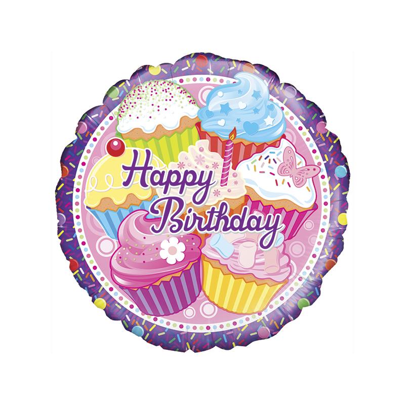 18'' Cupcake Birthday Holographic Round Foil Balloon