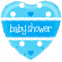 18'' Baby Shower Heart Blue Holographic Foil Balloon
