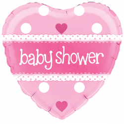 18'' Baby Shower Heart Pink Holographic Foil Balloon