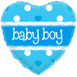 18'' Baby Boy Heart Holographic Foil Balloon