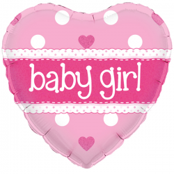 18'' Baby Girl Heart Holographic Foil Balloon