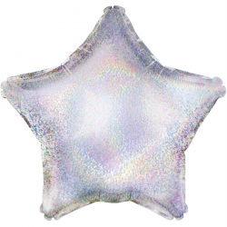 48cm Star Holographic Silver Foil Balloon