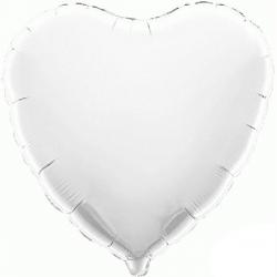 45cm Heart White Foil Balloon
