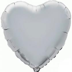 45cm Heart Silver Foil Balloon