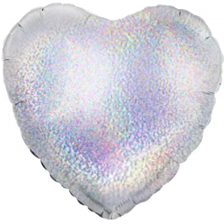 45cm Heart Silver Holographic Foil Balloon