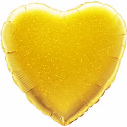 45cm Heart Gold Holographic Foil Balloon
