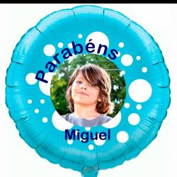 Custom round light blue foil balloon 2 sides printing