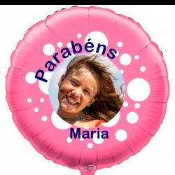 Balão Foil Redondo Rosa Personalizado em 2 Lados