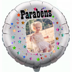 Custom round silver foil balloon 2 sides printing