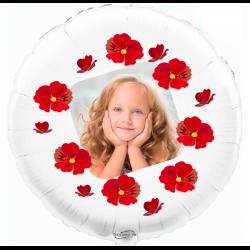 Custom round white foil balloon 2 sides printing