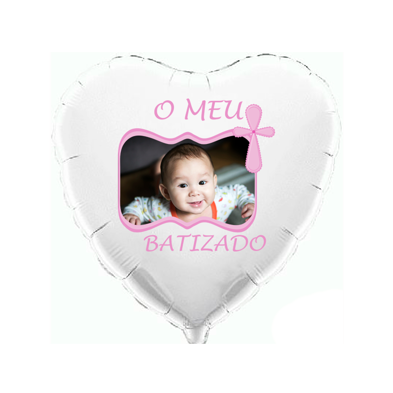 Custom heart white foil balloon 2 sides printing
