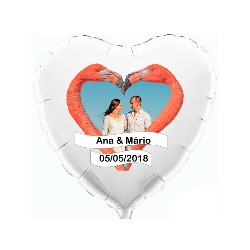 Custom heart white foil balloon 2 sides printing