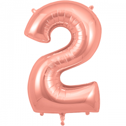 86cm Rose Gold Number 2 Balloon